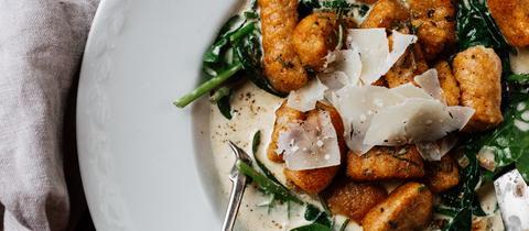 Die Süßkartoffel-Gnocchi  mit Spinatsoße von Anette Spaner