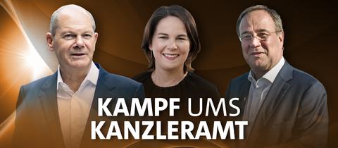 Olaf Scholz, Annalena Baerbock und Armin Laschet vor einem goldbraunen Hintergrund mit der Aufschrift: Kampf ums Kanzleramt - Wer regiert Deutschland?