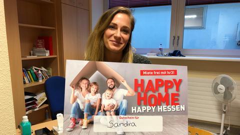 """Sandra gewinnt ein Jahr """"Miete frei mit hr3"""""""