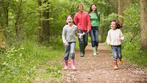 Eine Familie hat Spaß im Wald
