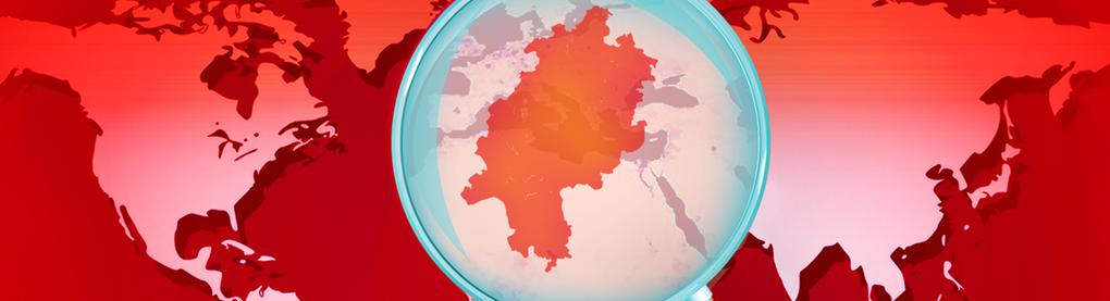 Weltkarte mit Hessen im Fokus