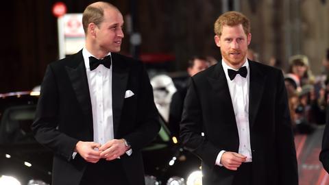 """Die britischen Prinzen William (l) und Harry auf der Europa-Premiere des Films """"Star Wars: Die letzten Jedi"""""""