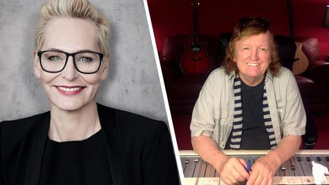 hr3-Moderatorin Bärbel Schäfer und ihr Interviewgast Frank Farian