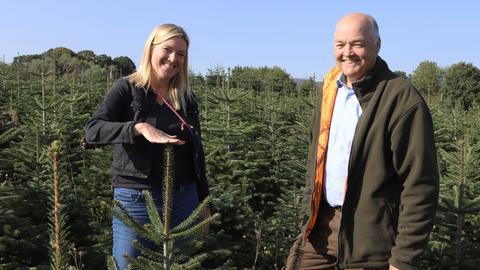 Weihnachtsbaumkönigin Tanja I. in der Baumschonung