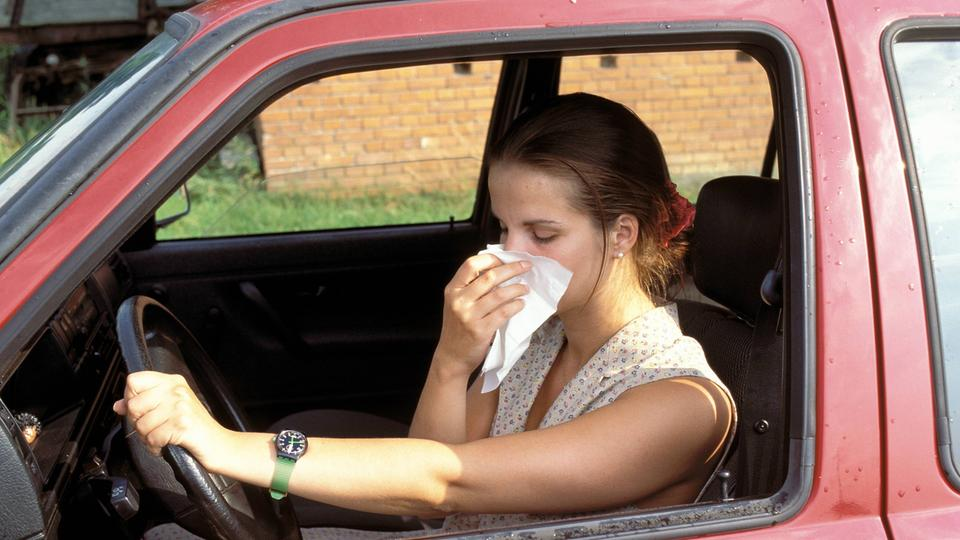 Heuschnupfen: Nase putzen im Auto
