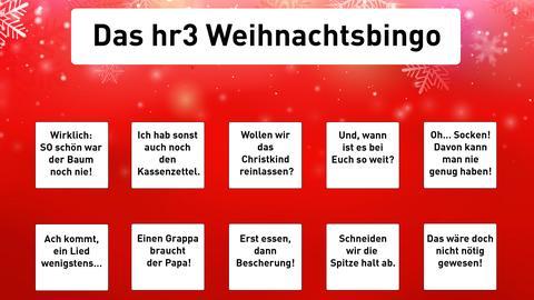 Das hr3 Weihnachtsbingo zum Download