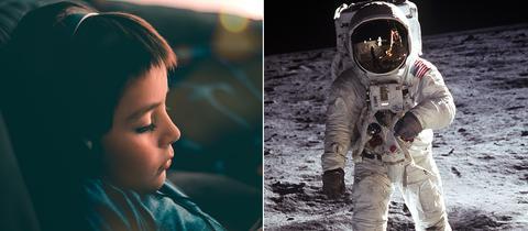 Collage: Ein Junge hört Hörbuch und ein Astronaut auf dem Mond