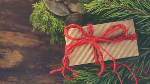 Geschenk liegt untermn Weihnachtsbaum