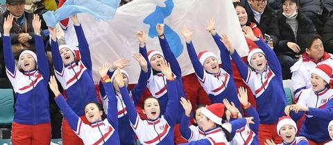 Feierten zu den Klängen von Mickie Krause: Nordkoreanische Cheerleader beim Spiel Korea gegen Schweden