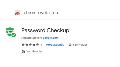 Screenshot von Passwort Checkup im Chrome Web Store