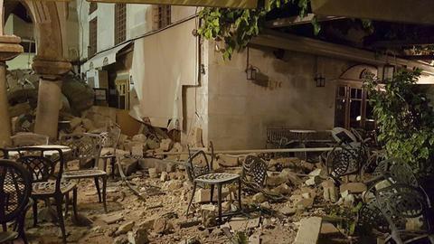 Schäden an Gebäuden am 21.07.2017 auf Kos (Griechenland) nach einem starken Erdbeben