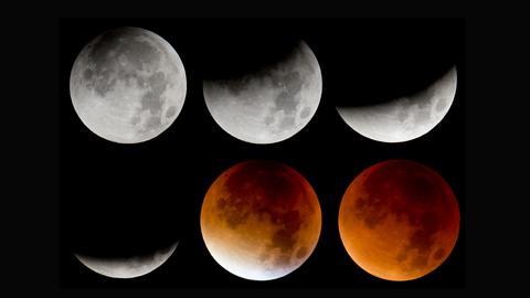 Das Bild zeigt von links oben nach rechts unten die verschiedenen Phasen der totalen Mondfinsternis.