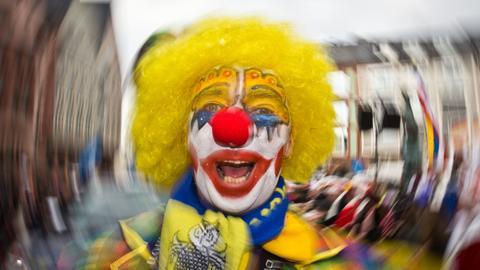 Ein Clown auf dem Römer in Frankfurt