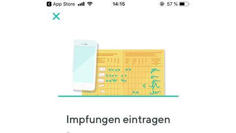 Übersicht über die Aktivitäten in der App: Arztunterlagen, Medikamente und Impfpass.