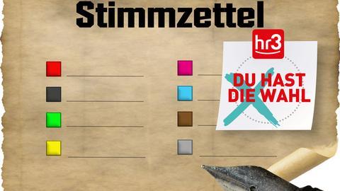 Stimmzettel mit hr3 Badge