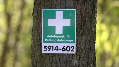 Rettungspunkt im Wald