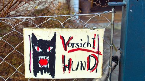 """Warnschild mit Aufschritt """"Vorsicht Hund"""""""