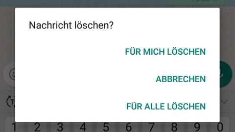 Whats App Nachricht löschen